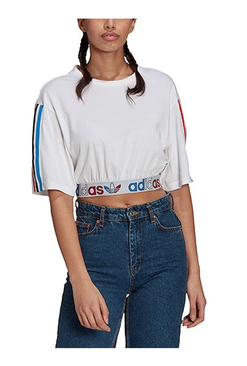 Camiseta adidas CORTA ADICOLOR PRIMEBLUE TRICOLOR Blanca