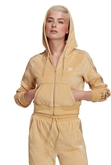 Chaqueta adidas CON CAPUCHA CROP beige
