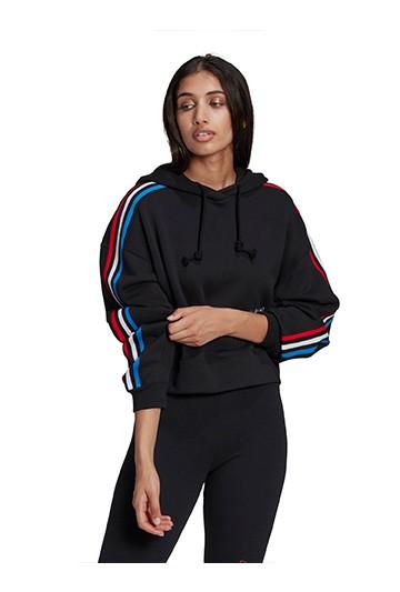 Sudadera adidas con capucha Adidolor Tricolor Trefoil Crop negra