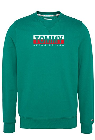 Sudadera Tommy Hilfiger TJM ESSENTIAL SPLIT BOX CREW verde