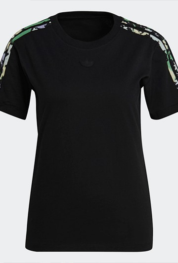 Camiseta adidas FLORAL 3 BANDAS negra