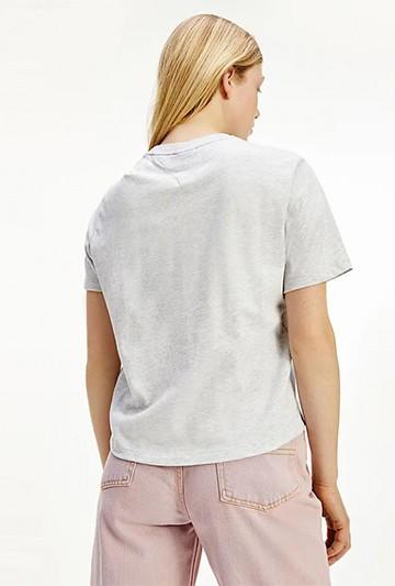 Camiseta Tommy Hilfiger CROPPED CON LOGO BORDADO gris