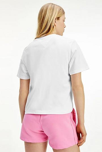 Camiseta Tommy Hilfiger CROPPED CON LOGO BORDADO blanca