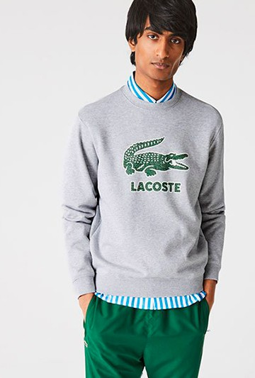 Sudadera Lacoste Crackled Print Logo gris