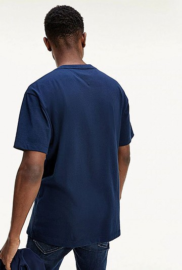Camiseta Tommy Hilfiger TJM PLAID CENTRE FLAG TEE azul