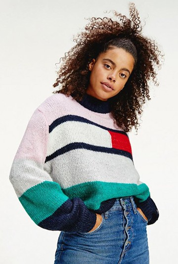 Jersey Tommy Hilfiger TJW BELL SLEEVE FLAG SWEATER Multicolor