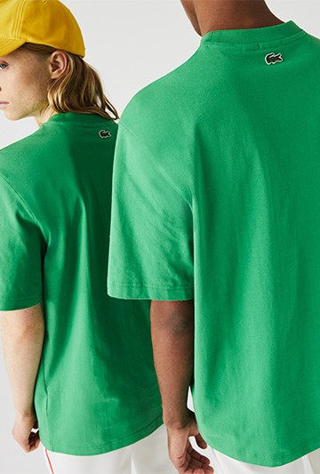 Camiseta Lacoste LIVE loose fit de algodón con bordado dorado verde