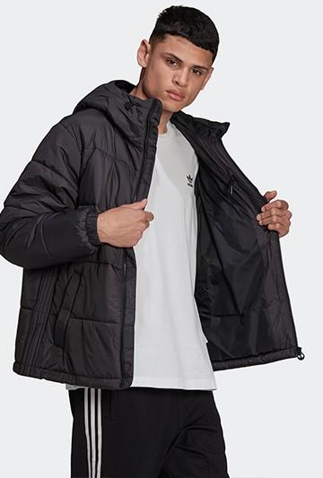 Abrigo adidas PAD HOODED PUFF negro