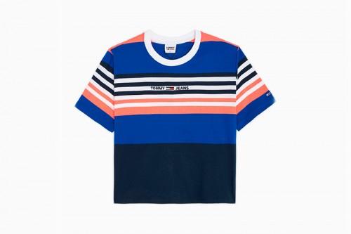 Camiseta Tommy Hilfiger BXY CROP LINEAR Multicolor