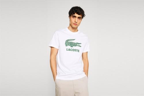 Camiseta Lacoste Logo Craquel Blanca