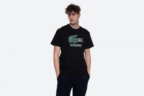 Camiseta Lacoste Logo Craquel negra