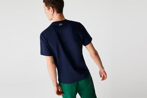 Camiseta Lacoste Logo Craquel azul