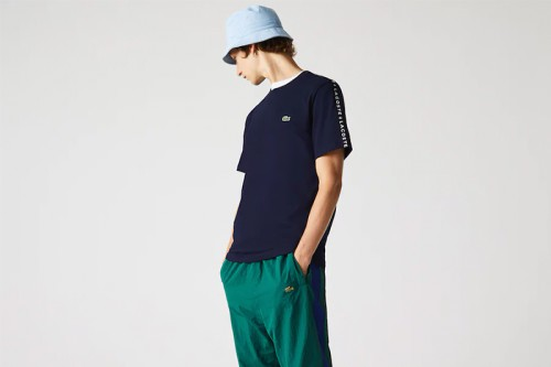 Camiseta Lacoste rayas estampadas azul