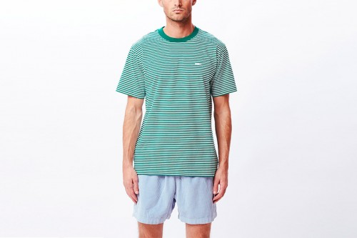 Camiseta Obey IDEALS ORGANIC STRIPE verde