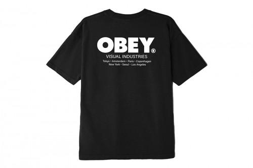Camiseta Obey VISUAL INDUSTRIES negra