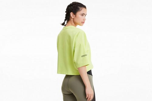 Camiseta Puma Camiseta Evide Form Stripe Crop Tee Sunny Lime verde