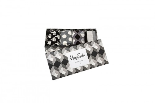 Happy Socks Calcetines Black And White Gift Box Negras
