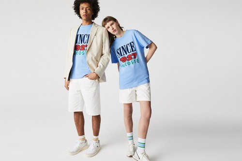 Camiseta Lacoste LIVE de algodón con estampado Azules