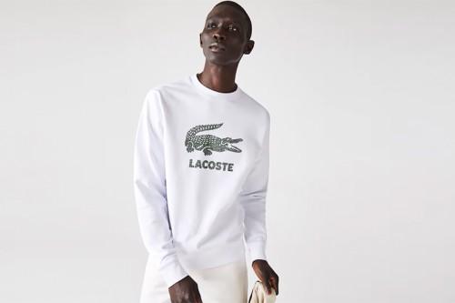 Sudadera Lacoste Crackled Print Logo Fleece blanca